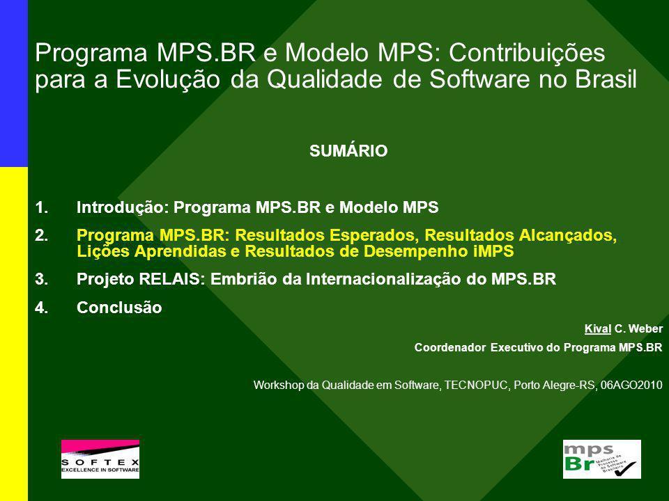 Programa MPS.BR e Modelo MPS: Contribuições para a Evolução da Qualidade de Software no Brasil SUMÁRIO 1.Introdução: Programa MPS.BR e Modelo MPS 2.Pr