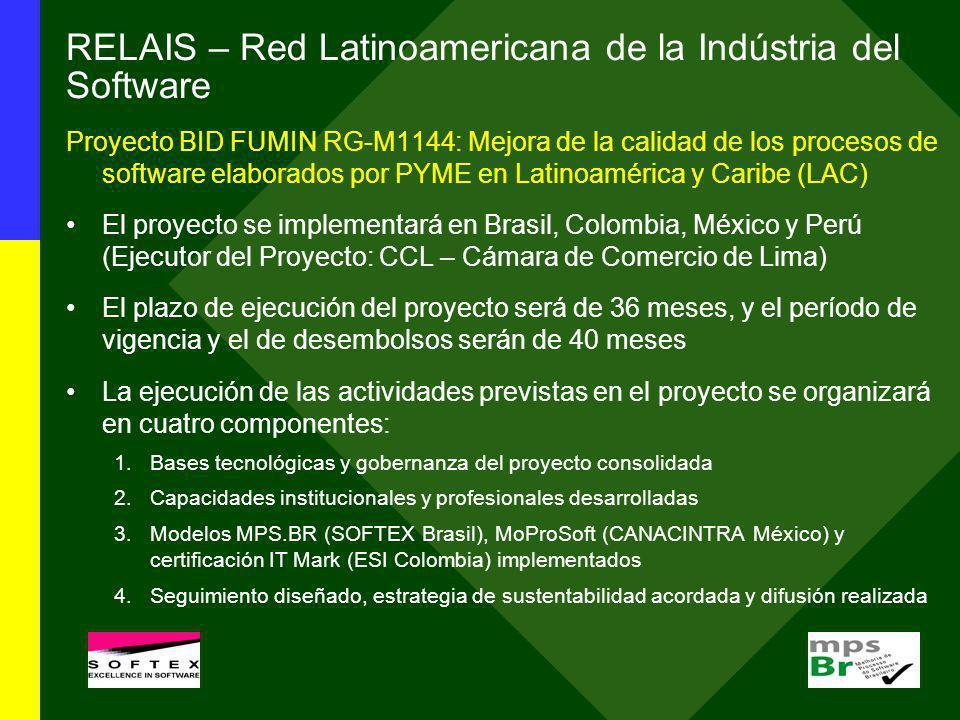 RELAIS – Red Latinoamericana de la Indústria del Software Proyecto BID FUMIN RG-M1144: Mejora de la calidad de los procesos de software elaborados por