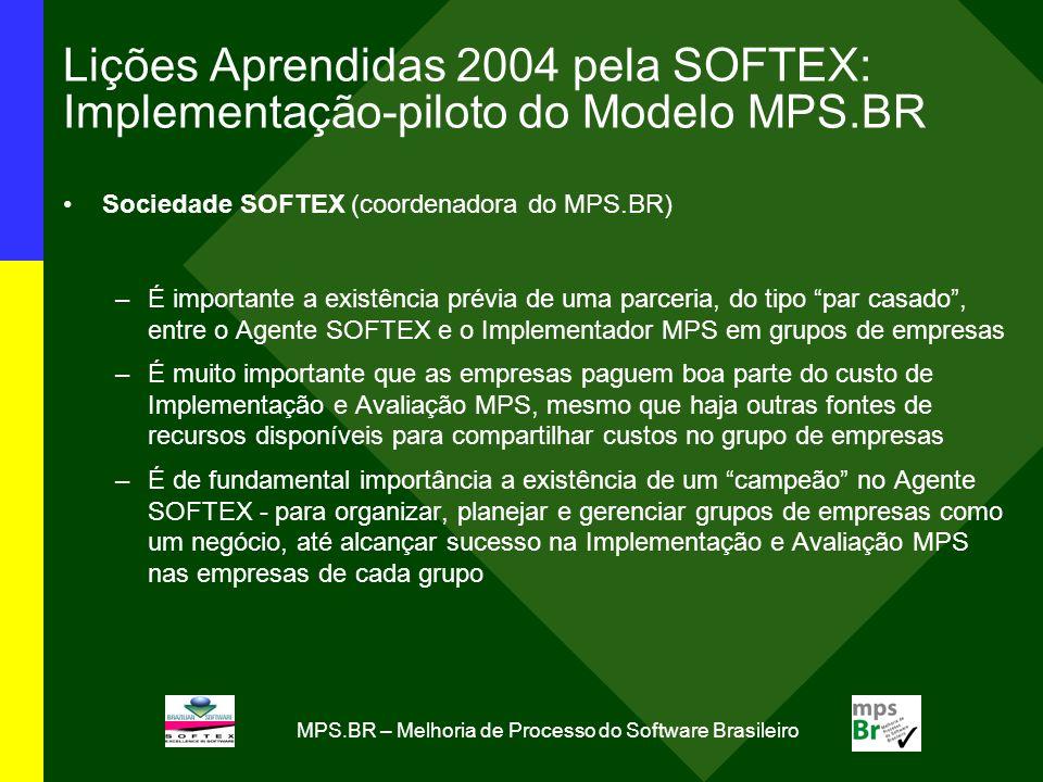 MPS.BR – Melhoria de Processo do Software Brasileiro Lições Aprendidas 2004 pela SOFTEX: Implementação-piloto do Modelo MPS.BR Sociedade SOFTEX (coord