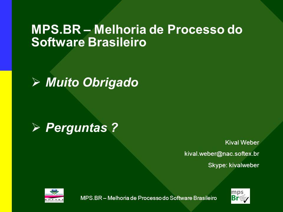 MPS.BR – Melhoria de Processo do Software Brasileiro Muito Obrigado Perguntas ? Kival Weber kival.weber@nac.softex.br Skype: kivalweber