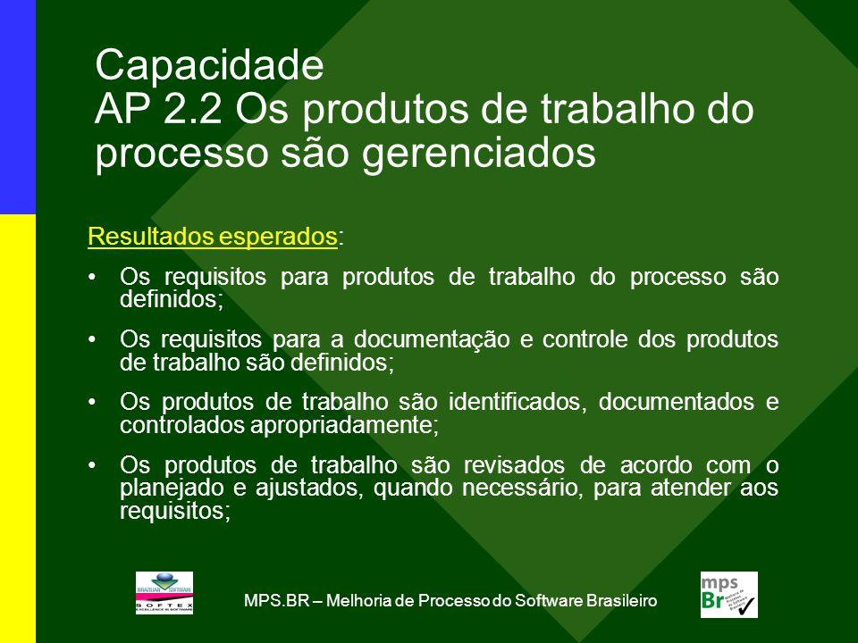 MPS.BR – Melhoria de Processo do Software Brasileiro Capacidade AP 2.2 Os produtos de trabalho do processo são gerenciados Resultados esperados: Os re