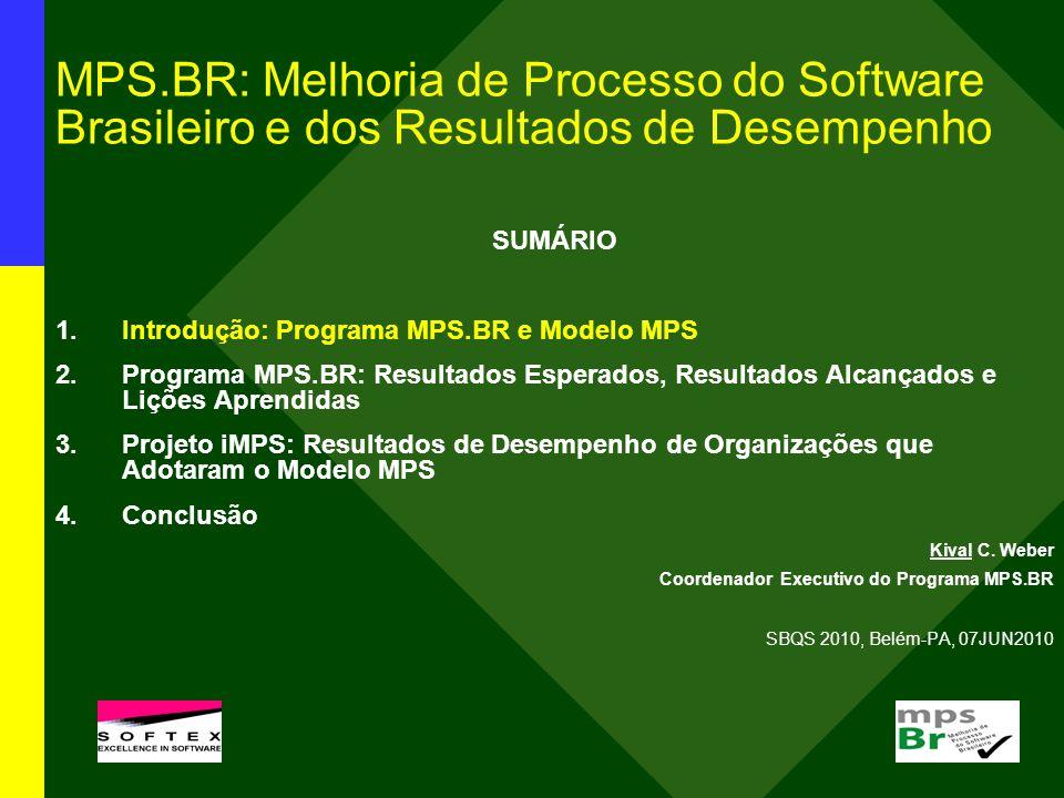 Resultados Alcançados: JAN2004-MAI2010 Meta técnica: criação e aprimoramento do modelo MPS 1.Guias MPS (disponíveis para download gratuito em www.softex.br/mpsbr): Guia Geral:2009 Guia de Aquisição:2009 Guia de Implementação:2009 (10 partes) Guia de Avaliação:2009 2.Instituições Implementadoras (II): 18 II credenciadas (COMUNICADO 3/2004), com 120 implementadores MPS 3.Instituições Avaliadoras (IA): 13 IA credenciadas (COMUNICADO 10/2006), com 68 avaliadores MPS 4.Consultores de Aquisição (CA): 5 CA certificados (COMUNICADO 12/2006)