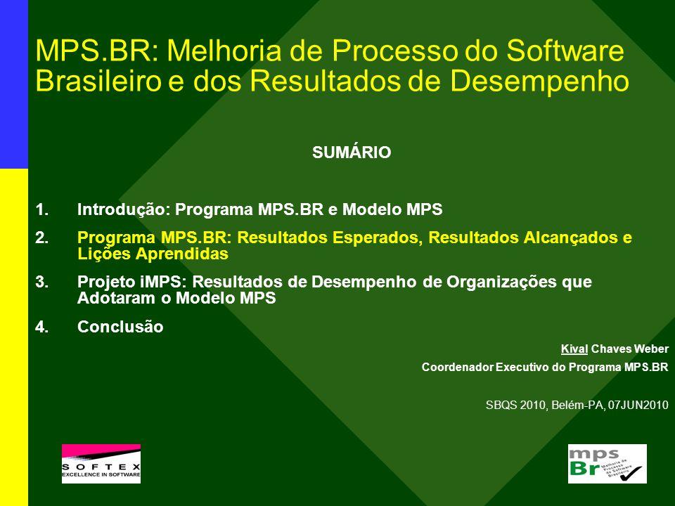 MPS.BR: Melhoria de Processo do Software Brasileiro e dos Resultados de Desempenho SUMÁRIO 1.Introdução: Programa MPS.BR e Modelo MPS 2.Programa MPS.B