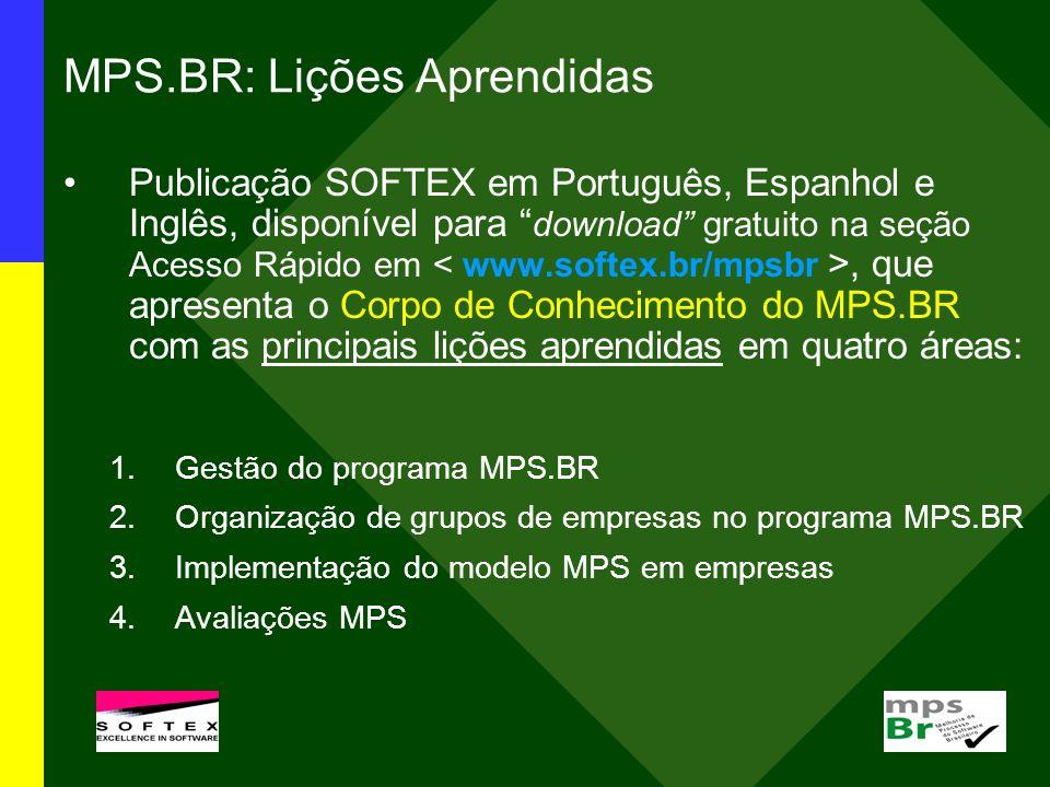 MPS.BR: Lições Aprendidas Publicação SOFTEX em Português, Espanhol e Inglês, disponível para download gratuito na seção Acesso Rápido em, que apresent