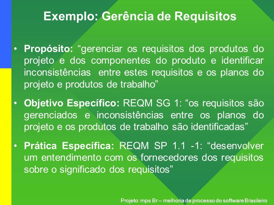 Projeto: mps Br – melhoria de processo do software Brasileiro Exemplo: Gerência de Requisitos Propósito: gerenciar os requisitos dos produtos do proje