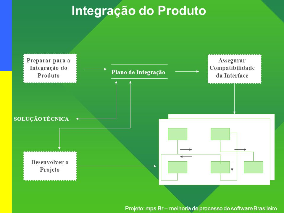 Projeto: mps Br – melhoria de processo do software Brasileiro Integração do Produto Preparar para a Integração do Produto Assegurar Compatibilidade da