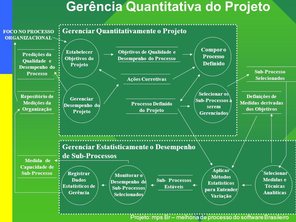 Projeto: mps Br – melhoria de processo do software Brasileiro Gerência Quantitativa do Projeto Estabelecer Objetivos do Projeto Gerenciar Desempenho d