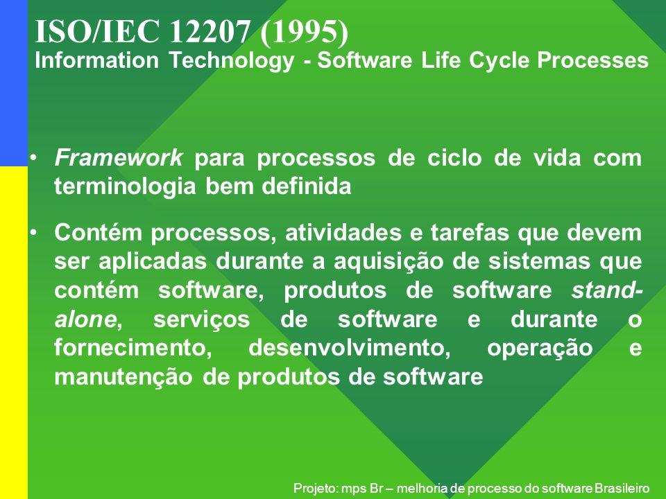 Projeto: mps Br – melhoria de processo do software Brasileiro ISO/IEC 12207 (1995) Information Technology - Software Life Cycle Processes Framework pa
