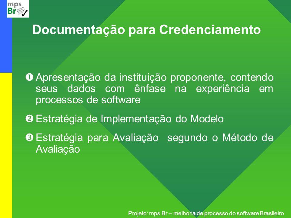 Projeto: mps Br – melhoria de processo do software Brasileiro Documentação para Credenciamento Apresentação da instituição proponente, contendo seus d