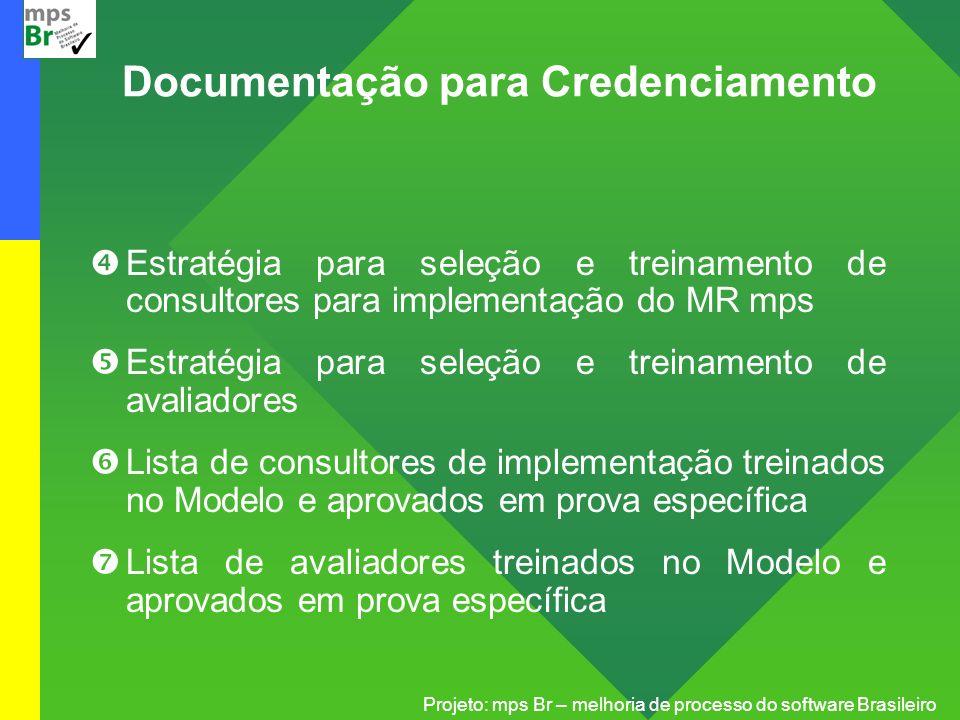 Projeto: mps Br – melhoria de processo do software Brasileiro Estratégia para seleção e treinamento de consultores para implementação do MR mps Estrat