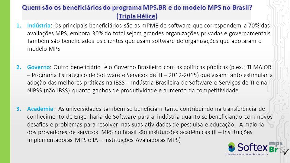 1.Indústria: Os principais beneficiários são as mPME de software que correspondem a 70% das avaliações MPS, embora 30% do total sejam grandes organiza