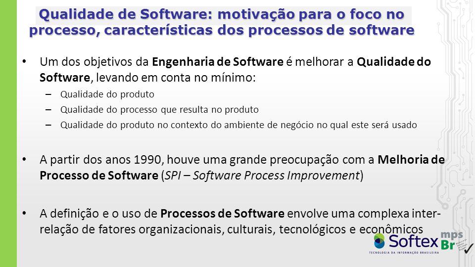 Maturidade do Processo de Software no Brasil em 2003 Estudos no início dos anos 2000 mostraram que: era necessário um esforço significativo para aumentar a maturidade dos processos de software nas empresas brasileiras Qualidade e Produtividade no Setor de Software Brasileiro [MCT 2001, Secretaria de Política de Informática] - Qualidade e Produtividade no Setor de Software Brasileiro até então as empresas de software no Brasil favoreceram a ISO 9000, que é uma norma genérica, em detrimento de outras normas e modelos especificamente voltadas para a melhoria de processos de software como o CMM (antecessor do CMMI) [MIT 2003, Massachusetts Institute of Technology] - Slicing the Knowledge-based Economy in Brazil, China and India: a tale of 3 software industries