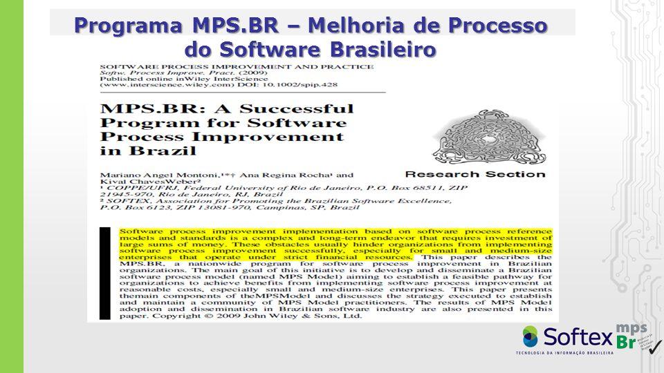 1.Programa mobilizador lançado em 11DEZ2003 (10 Anos de MPS) mobilização conjunta no Brasil da Tripla Hélice (Academia, Governo e Indústria), sob coordenação da Softex 2.Objetivo do programa MPS.BR: M elhoria de P rocesso do S oftware Br asileiro ( MPSBr ) fazendo que as organizações que adotam o modelo MPS alcancem os benefícios da melhoria de processos (Process Improvement) e do desempenho nos negócios (Business Performance), visando aumentar sua competitividade no mercado local e global 3.Meta técnica: criação e aprimoramento do Modelo MPS em conformidade com as normas ISO/IEC 12207 e 15504 compatível com o CMMI-DEV baseado nas melhores práticas da Engenharia de Software adequado à realidade das empresas brasileiras 4.Meta de mercado: disseminação e adoção do Modelo MPS (em todas as regiões do país, num intervalo de tempo justo, a um custo razoável) em MPME – Micro, Pequenas e Médias Empresas (foco principal) em Grandes Organizações (públicas e privadas)