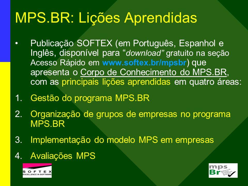 MPS.BR: Lições Aprendidas Publicação SOFTEX (em Português, Espanhol e Inglês, disponível para download gratuito na seção Acesso Rápido em www.softex.b