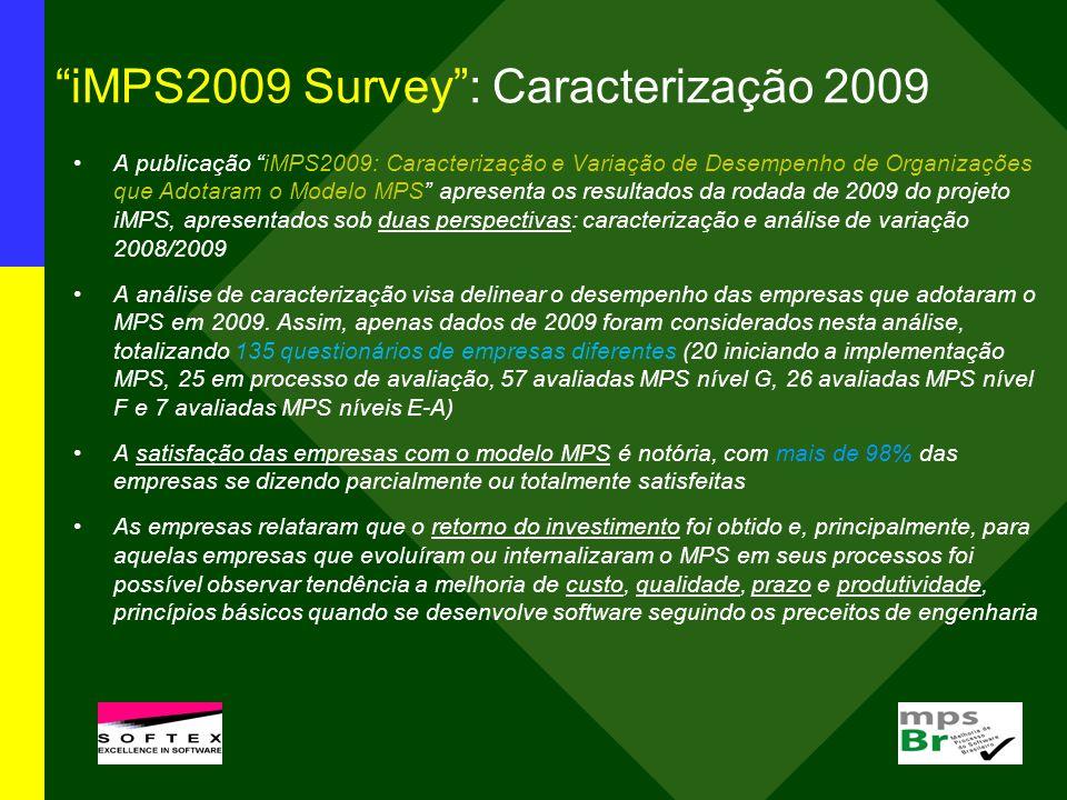 iMPS2009 Survey: Caracterização 2009 A publicação iMPS2009: Caracterização e Variação de Desempenho de Organizações que Adotaram o Modelo MPS apresent