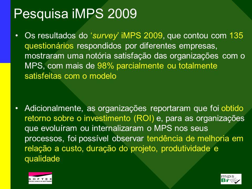 Pesquisa iMPS 2009 Os resultados do survey iMPS 2009, que contou com 135 questionários respondidos por diferentes empresas, mostraram uma notória sati