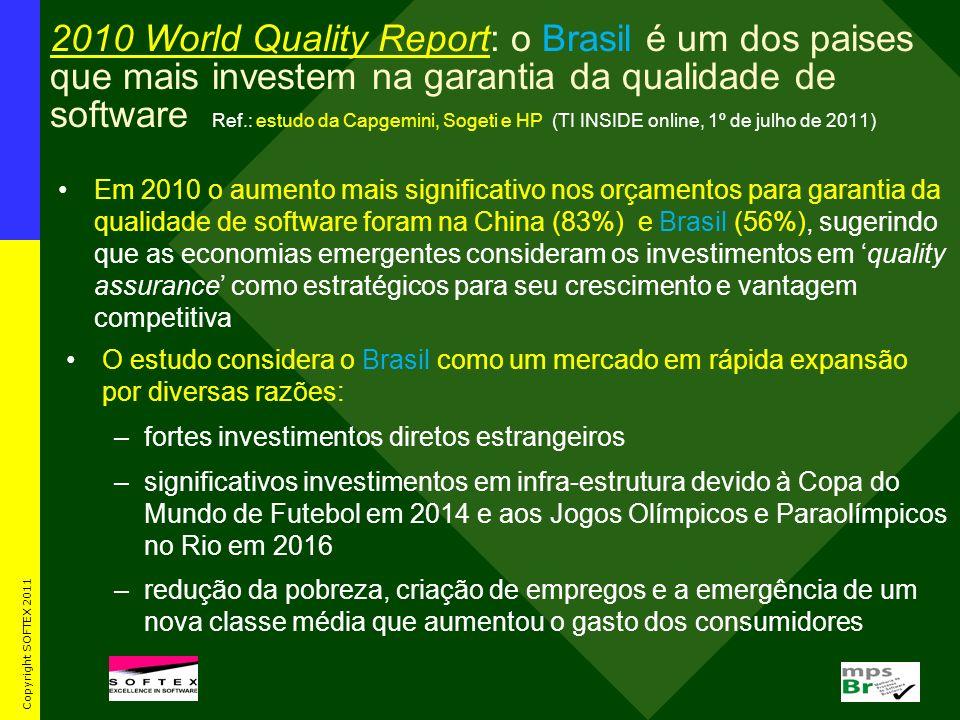 2010 World Quality Report: o Brasil é um dos paises que mais investem na garantia da qualidade de software Ref.: estudo da Capgemini, Sogeti e HP (TI