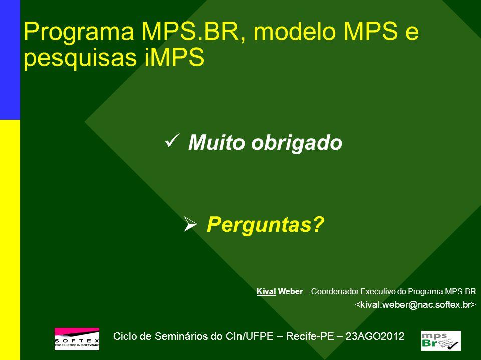 Programa MPS.BR, modelo MPS e pesquisas iMPS Muito obrigado Perguntas? Kival Weber – Coordenador Executivo do Programa MPS.BR Ciclo de Seminários do C