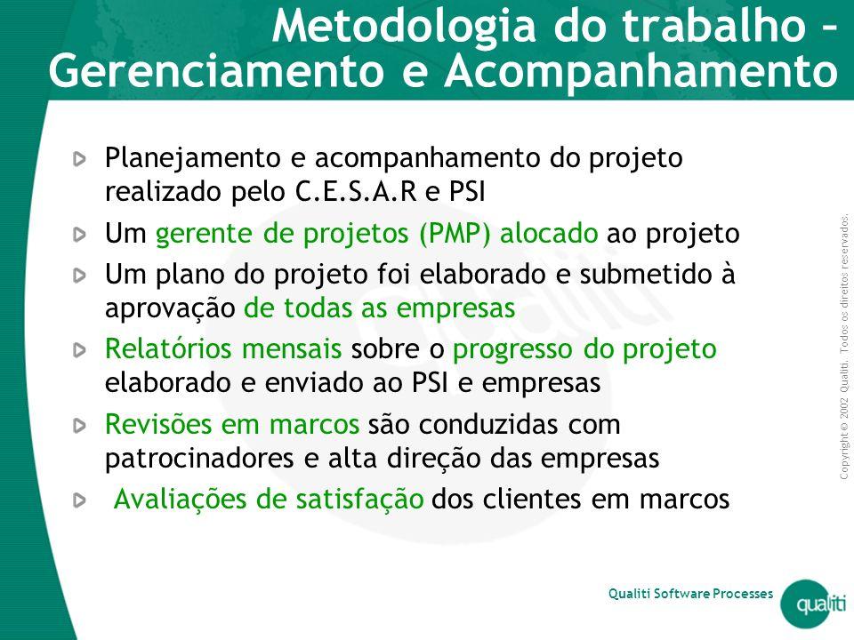 Copyright © 2002 Qualiti. Todos os direitos reservados. Qualiti Software Processes Metodologia do trabalho – Gerenciamento e Acompanhamento Planejamen