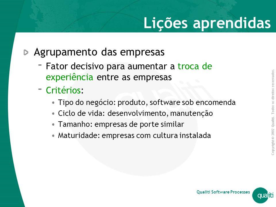 Copyright © 2002 Qualiti. Todos os direitos reservados. Qualiti Software Processes Lições aprendidas Agrupamento das empresas  Fator decisivo para au