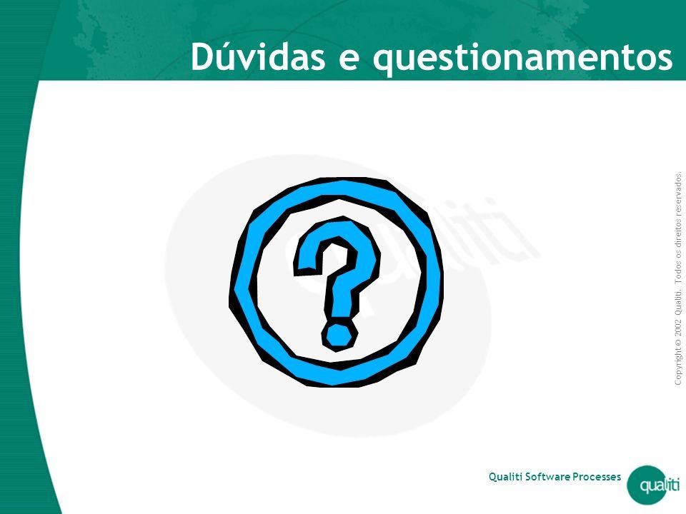 Copyright © 2002 Qualiti. Todos os direitos reservados. Qualiti Software Processes Dúvidas e questionamentos