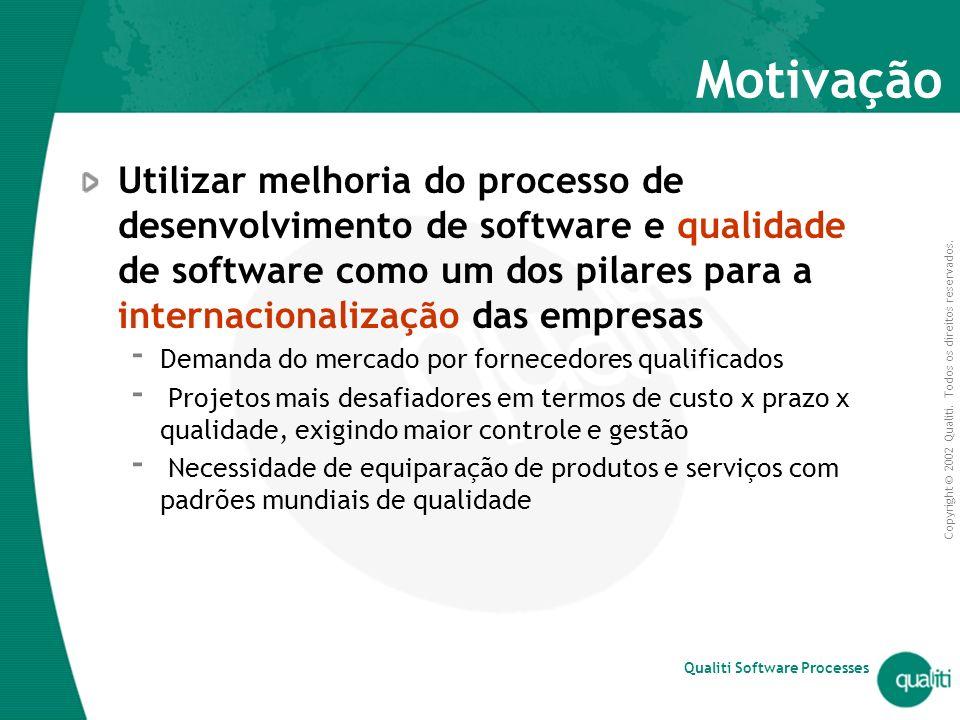 Copyright © 2002 Qualiti. Todos os direitos reservados. Qualiti Software Processes Motivação Utilizar melhoria do processo de desenvolvimento de softw
