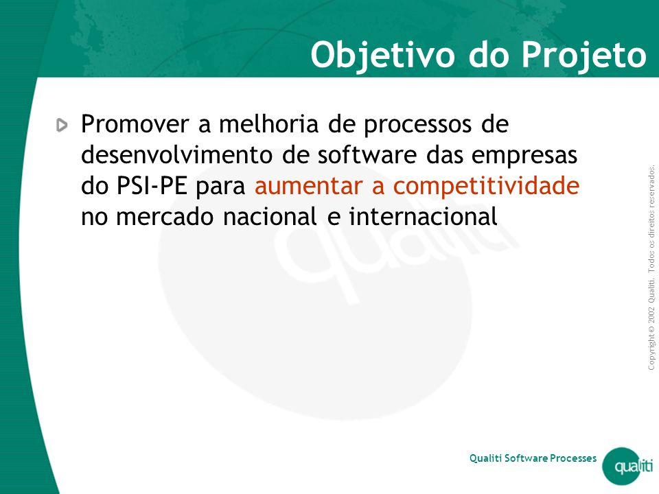 Copyright © 2002 Qualiti. Todos os direitos reservados. Qualiti Software Processes Objetivo do Projeto Promover a melhoria de processos de desenvolvim