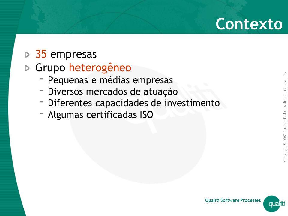 Copyright © 2002 Qualiti. Todos os direitos reservados. Qualiti Software Processes Contexto 35 empresas Grupo heterogêneo  Pequenas e médias empresas