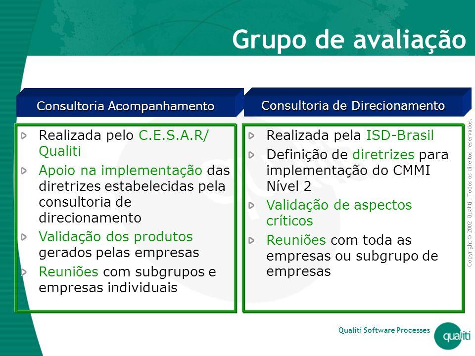 Copyright © 2002 Qualiti. Todos os direitos reservados. Qualiti Software Processes Grupo de avaliação Realizada pelo C.E.S.A.R/ Qualiti Apoio na imple