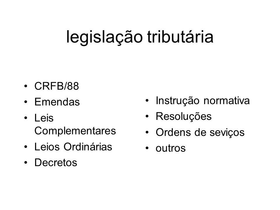 CRFB/88 Emendas Leis Complementares Leios Ordinárias Decretos Instrução normativa Resoluções Ordens de seviços outros
