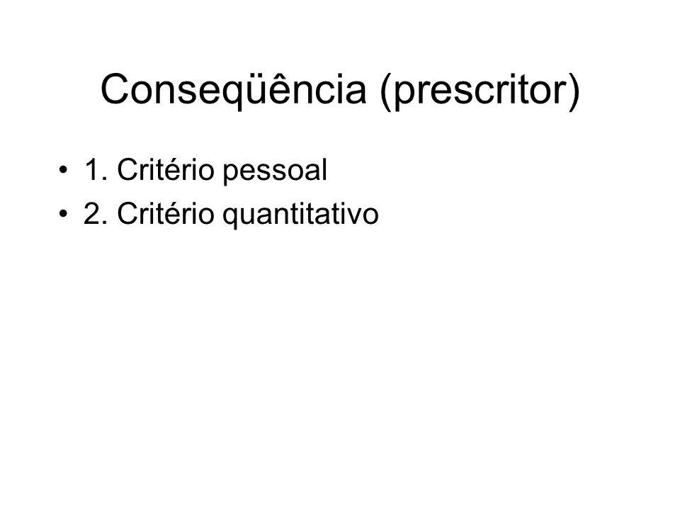 Conseqüência (prescritor) 1. Critério pessoal 2. Critério quantitativo