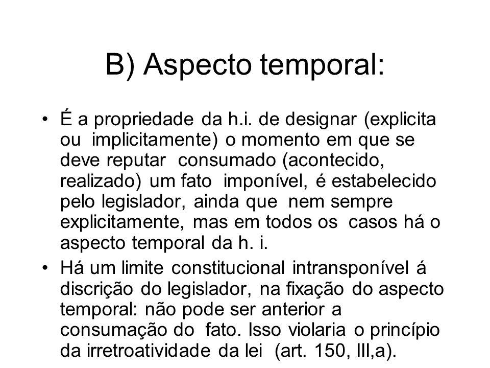 B) Aspecto temporal: É a propriedade da h.i. de designar (explicita ou implicitamente) o momento em que se deve reputar consumado (acontecido, realiza