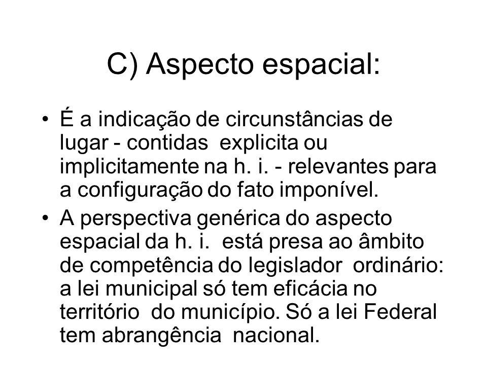 C) Aspecto espacial: É a indicação de circunstâncias de lugar - contidas explicita ou implicitamente na h. i. - relevantes para a configuração do fato