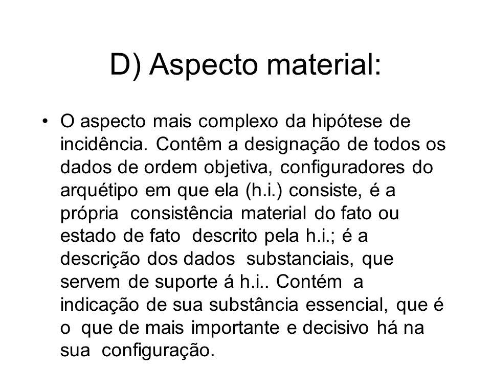 D) Aspecto material: O aspecto mais complexo da hipótese de incidência. Contêm a designação de todos os dados de ordem objetiva, configuradores do arq