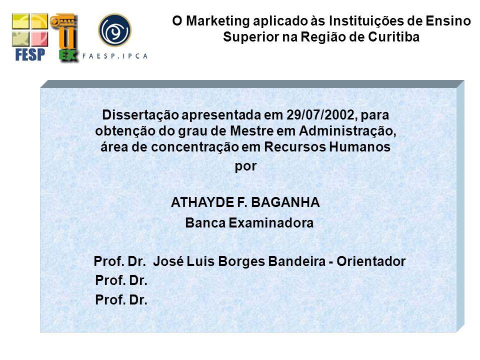 CARACTERÍSTICAS AMBIGÜIDADE DE OBJETIVOS CLIENTELA ESPECIAL VULNERABILIDADE AO AMBIENTE AUSÊNCIA DE PADRÕES DE PERFORMANCE TECNOLOGIA PROBLEMÁTICA PROFISSIONALISMO ESTRUTUTURA FRAGMENTADA O Marketing aplicado às Instituições de Ensino Superior na Região de Curitiba AS ORGANIZAÇÕES UNIVERSITÁRIAS São um organismo socialmente constituído que reproduz a sociedade na qual está inserida NATUREZA POLÍTICA DAS DECISÕES