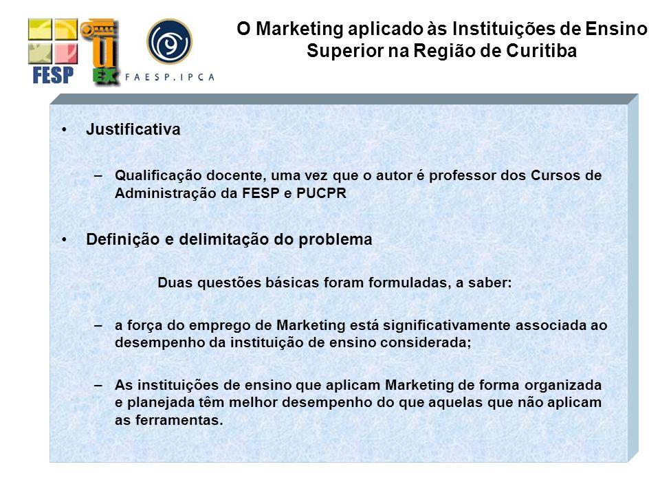 Objetivos da Pesquisa –DIAGNOSTICAR se a ferramentas de marketing estão sendo aplicadas pelas Instituições de Ensino Superior na região de Curitiba.