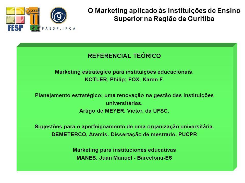 Marketing estratégico para instituições educacionais. KOTLER, Philip; FOX, Karen F. Planejamento estratégico: uma renovação na gestão das instituições