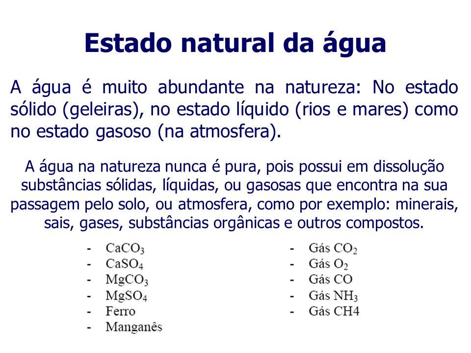Propriedades químicas da água 2º- A água reage em condições normais com metais alcalinos terrosos (Grupo 2A), tendo como produto da reação hidróxidos