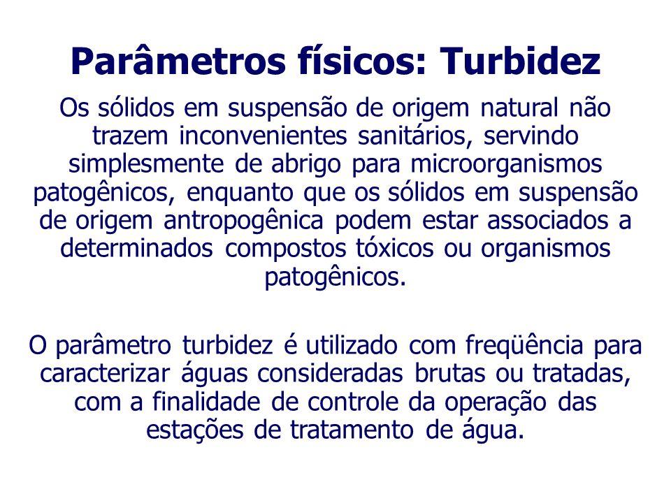 Conforme PRODEMGE (1999), a turbidez representa o grau de interferência da passagem de luz na água, conferindo-lhe uma aparência turva. Os principais