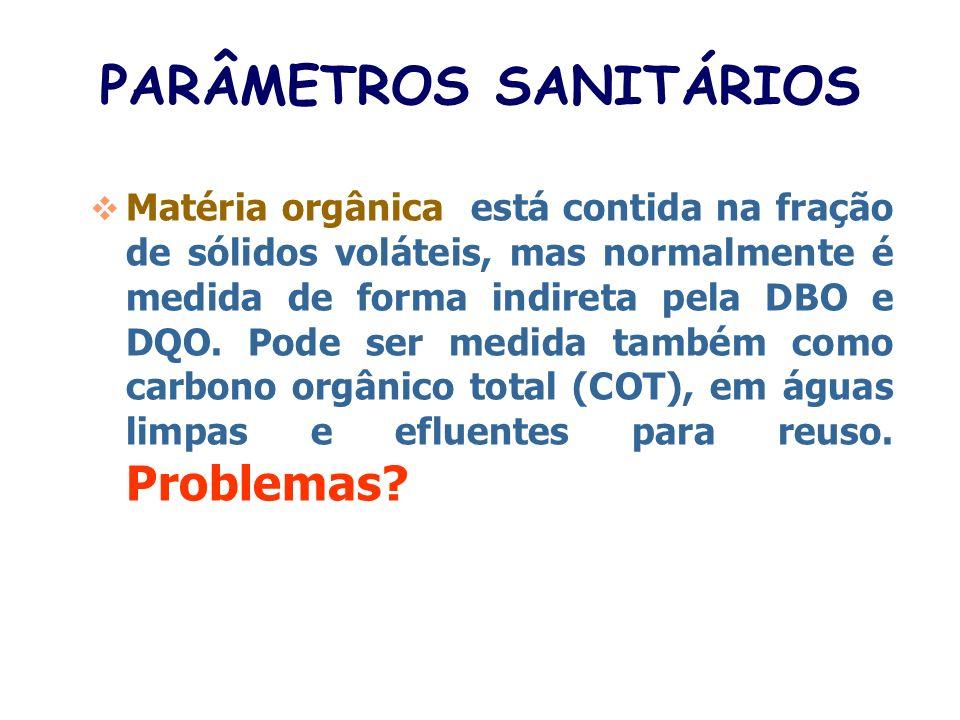 PARÂMETROS SANITÁRIOS Sólidos: são compostos por substâncias dissolvidas e em suspensão, e também são classificados como fixos (inorgânicos) e volátei