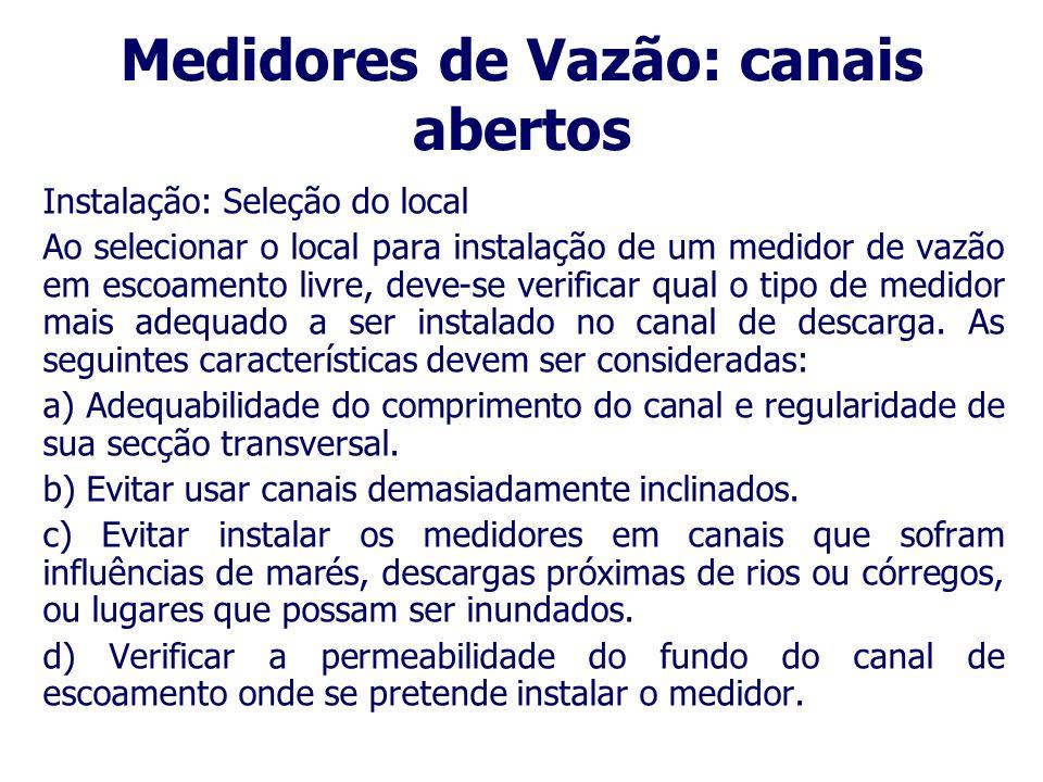 Medidores de Vazão: canais abertos Vertedouros (retangular pleno, retangular contraído, triangular com ângulo de abertura 90°, 45°, ou 22,5°); Calha P
