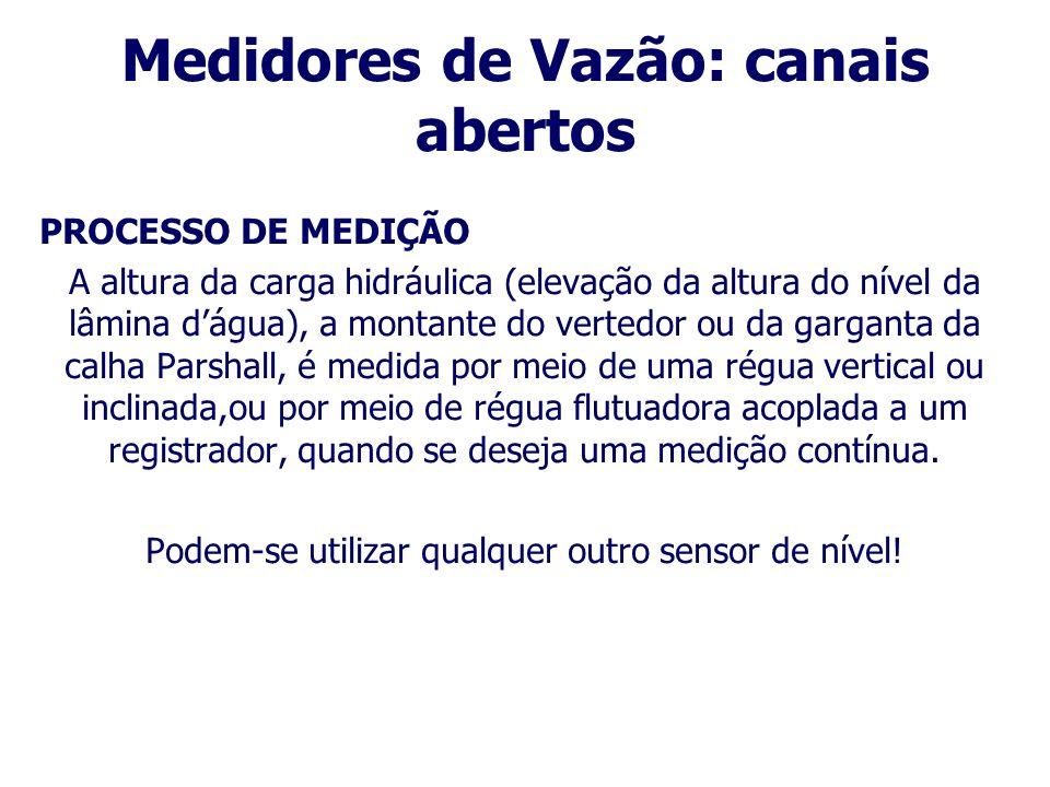 Medidores de Vazão: canais abertos Instalação: Seleção do local Ao selecionar o local para instalação de um medidor de vazão em escoamento livre, deve