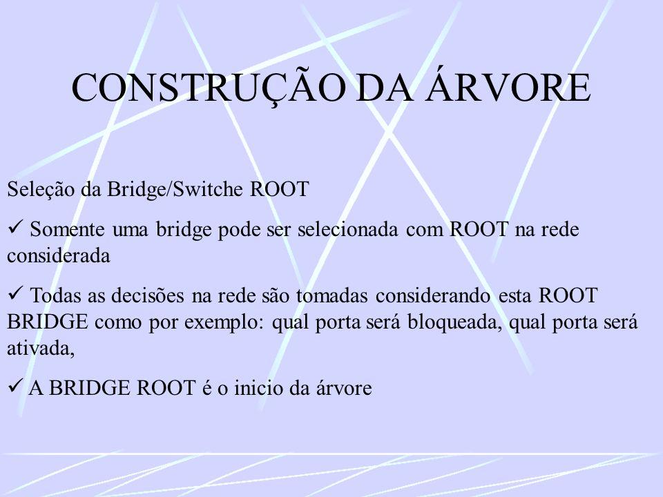 CONSTRUÇÃO DA ÁRVORE Seleção da Bridge/Switche ROOT Somente uma bridge pode ser selecionada com ROOT na rede considerada Todas as decisões na rede são