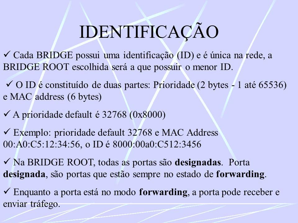 IDENTIFICAÇÃO Cada BRIDGE possui uma identificação (ID) e é única na rede, a BRIDGE ROOT escolhida será a que possuir o menor ID. O ID é constituído d