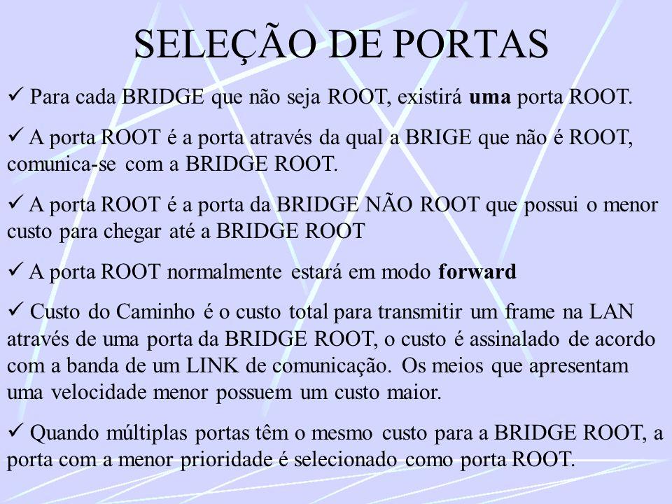 SELEÇÃO DE PORTAS Para cada BRIDGE que não seja ROOT, existirá uma porta ROOT. A porta ROOT é a porta através da qual a BRIGE que não é ROOT, comunica