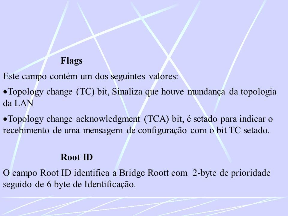 Flags Este campo contém um dos seguintes valores: Topology change (TC) bit, Sinaliza que houve mundança da topologia da LAN Topology change acknowledg