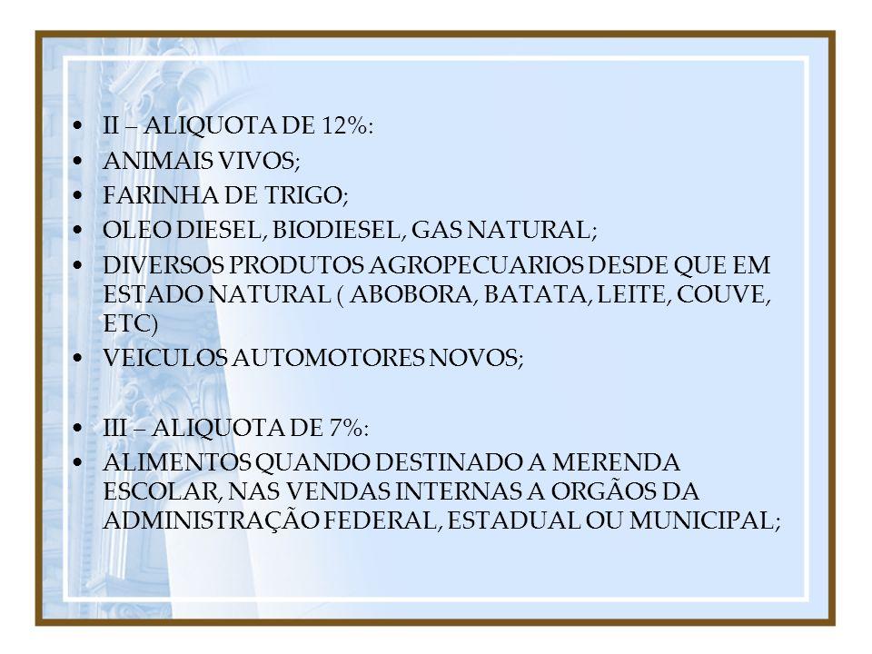 II – ALIQUOTA DE 12%: ANIMAIS VIVOS; FARINHA DE TRIGO; OLEO DIESEL, BIODIESEL, GAS NATURAL; DIVERSOS PRODUTOS AGROPECUARIOS DESDE QUE EM ESTADO NATURA