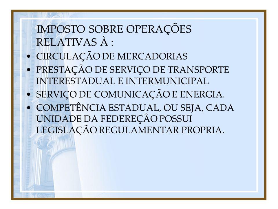 IMPOSTO SOBRE OPERAÇÕES RELATIVAS À : CIRCULAÇÃO DE MERCADORIAS PRESTAÇÃO DE SERVIÇO DE TRANSPORTE INTERESTADUAL E INTERMUNICIPAL SERVIÇO DE COMUNICAÇ