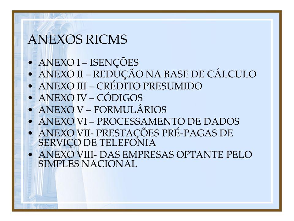 ANEXOS RICMS ANEXO I – ISENÇÕES ANEXO II – REDUÇÃO NA BASE DE CÁLCULO ANEXO III – CRÉDITO PRESUMIDO ANEXO IV – CÓDIGOS ANEXO V – FORMULÁRIOS ANEXO VI
