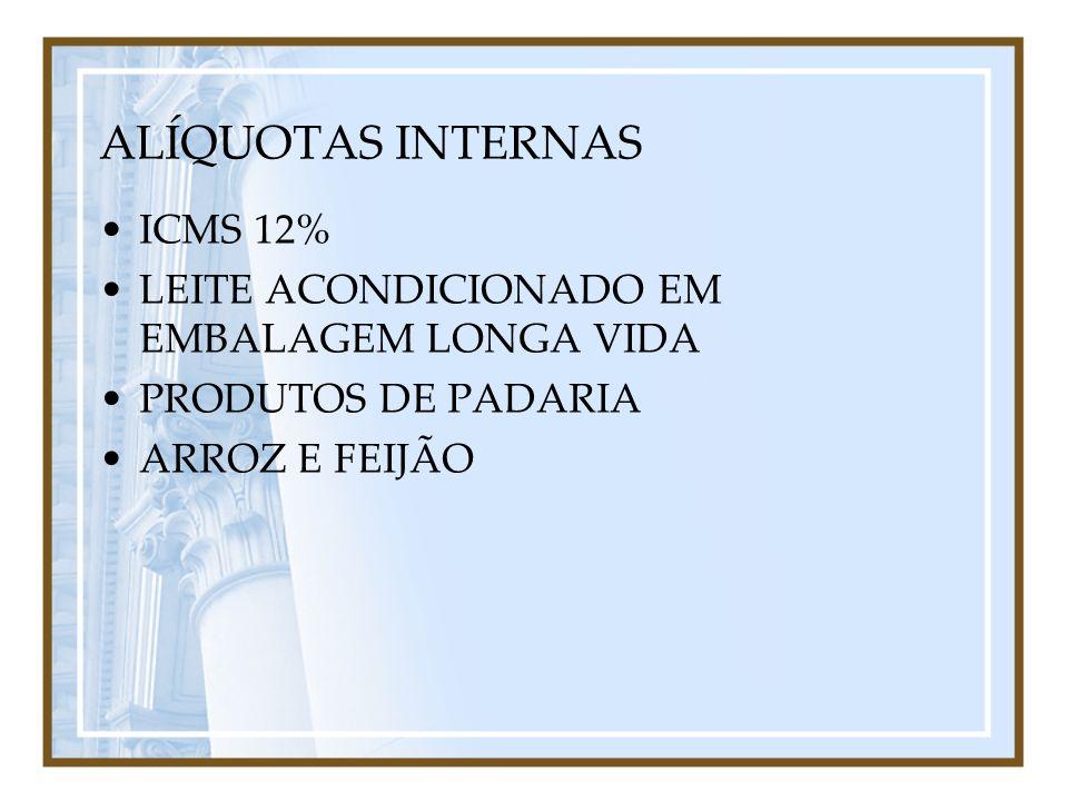 ALÍQUOTAS INTERNAS ICMS 12% LEITE ACONDICIONADO EM EMBALAGEM LONGA VIDA PRODUTOS DE PADARIA ARROZ E FEIJÃO